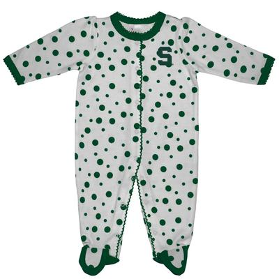 Michigan State Infant Polka Dot Footed Creeper