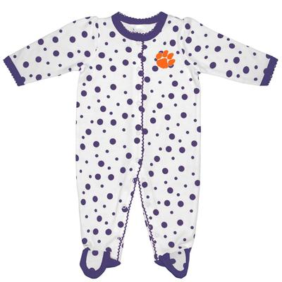Clemson Infant Polka Dot Footed Creeper