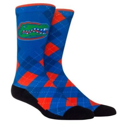 Florida Rock Em Blue Argyle Crew Socks