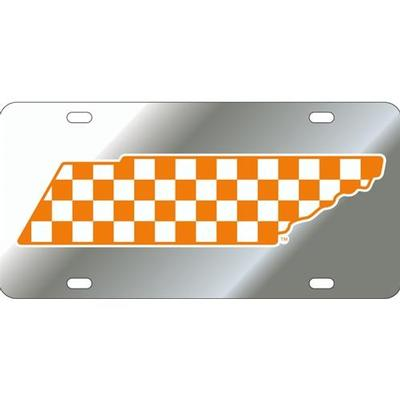 Tennessee License Plate Silver Checkerboard State Outline