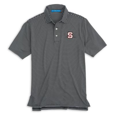 NC State Southern Tide Gameday Striped Polo BLACK