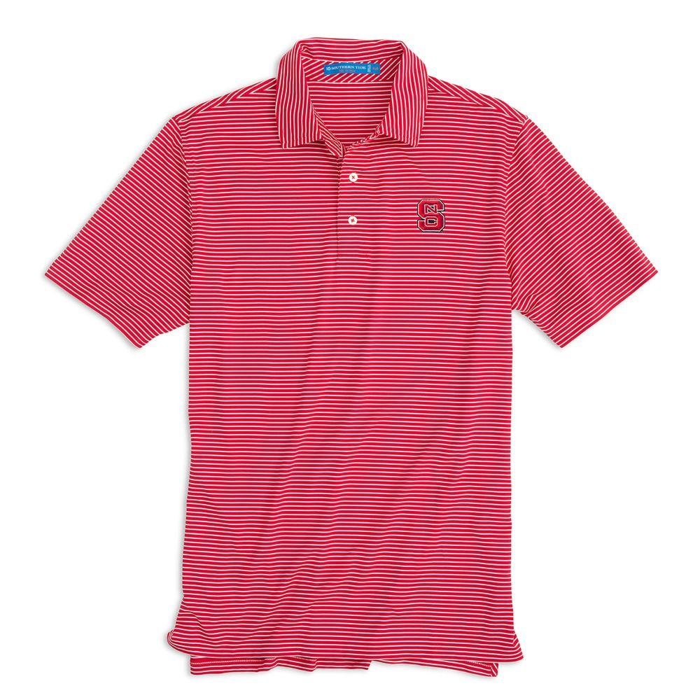 Nc State Southern Tide Gameday Striped Polo