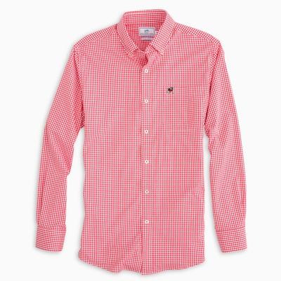 Georgia Southern Tide Gingham Woven Shirt RED