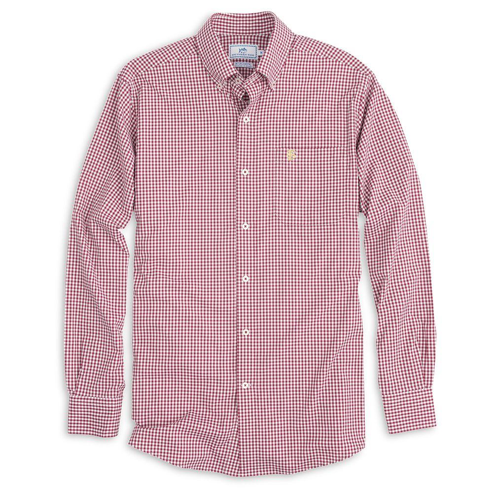 Florida State Southern Tide Gingham Woven Shirt