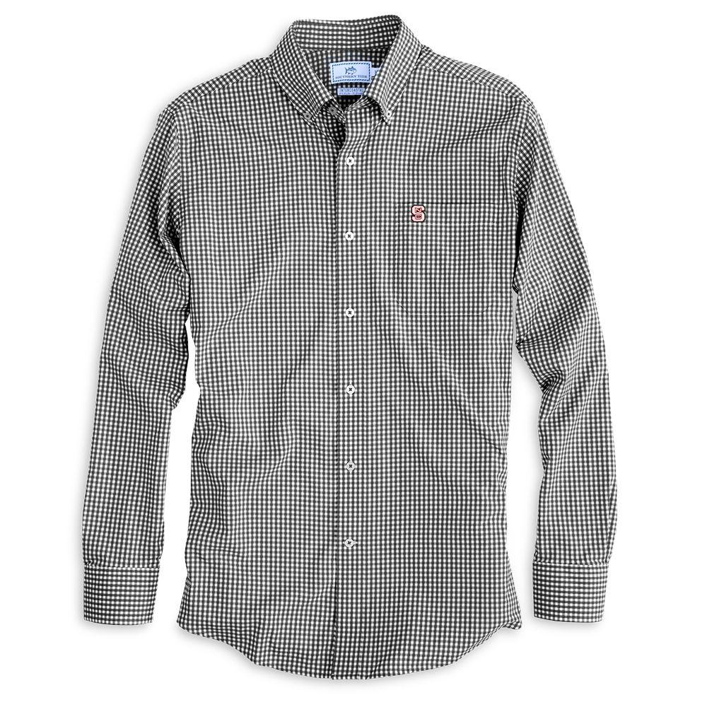 Nc State Southern Tide Gingham Woven Shirt