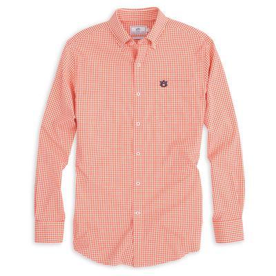 Auburn Southern Tide Gingham Woven Shirt ENDZONE_ORANGE