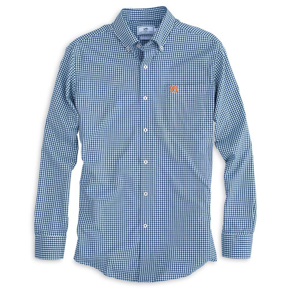 Auburn Southern Tide Gingham Woven Shirt