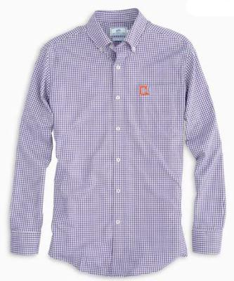 Clemson Southern Tide Vault Logo Gingham Woven Shirt