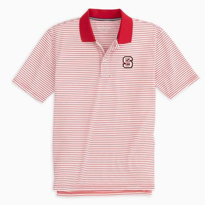 NC State Southern Tide Gameday Pique Stripe Polo RED