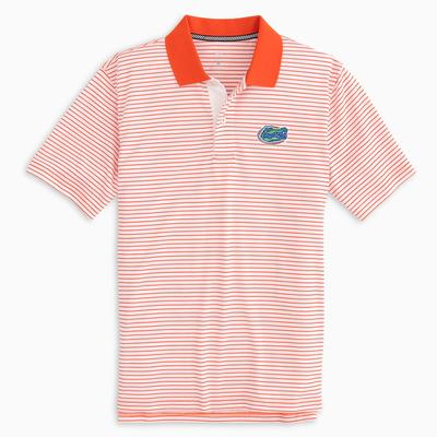 Florida Southern Tide Gameday Pique Stripe Polo ENDZONE_ORANGE