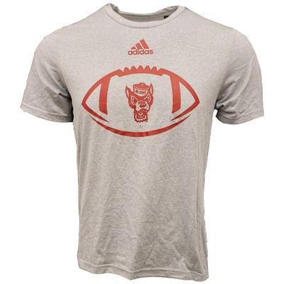 NC State Adidas Men's Locker Football Icon Tee Shirt GREY_HTHR