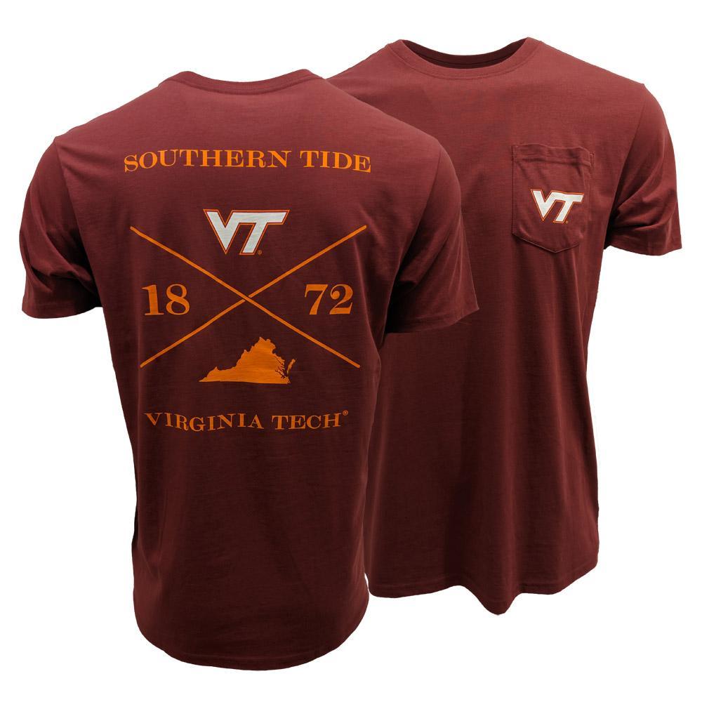Virginia Tech Southern Tide College Cross T- Shirt