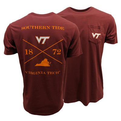 Virginia Tech Southern Tide College Cross T-Shirt