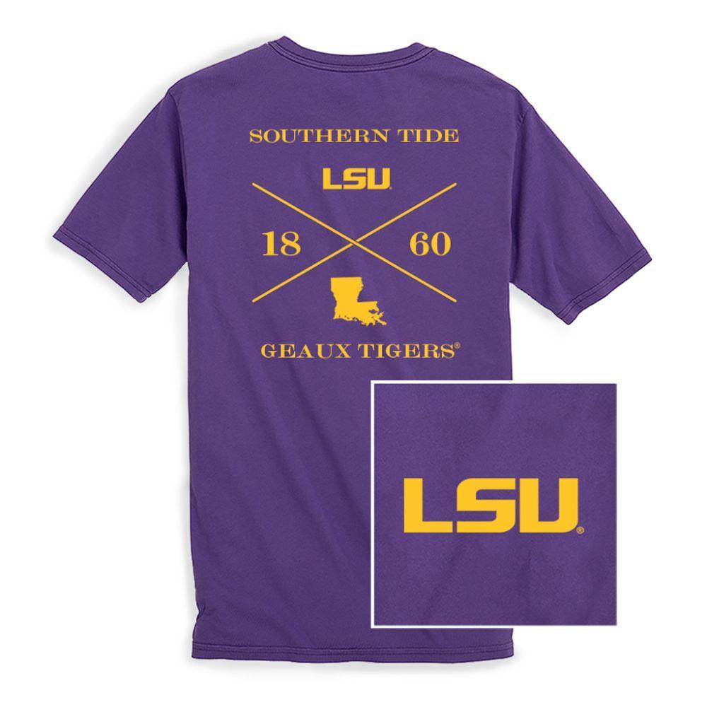 Lsu Southern Tide College Cross T- Shirt