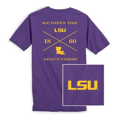 LSU Southern Tide College Cross T-Shirt