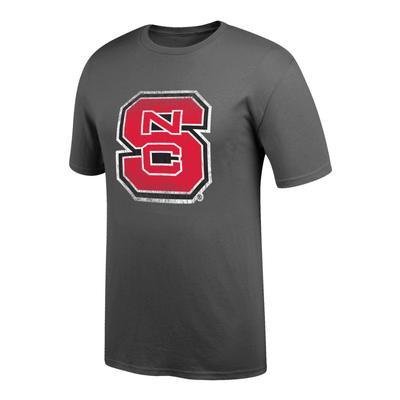NC State Men's Interlock Giant Logo Tee Shirt GRAPHITE