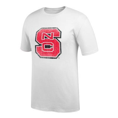 NC State Men's Interlock Giant Logo Tee Shirt WHITE
