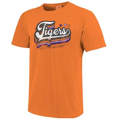 Clemson Starry Retro Script Comfort Colors Tee