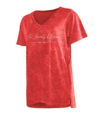 Alabama Chicka-D Mineral Wash Script V-Neck Tee