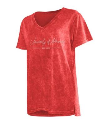 Arkansas Chicka-D Mineral Wash Script V-Neck Tee