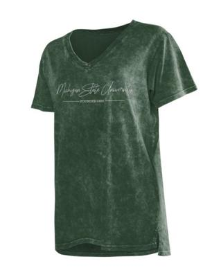 Michigan State Chicka-D Mineral Wash Script V-Neck Tee