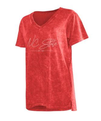 NC State Chicka-D Mineral Wash Script V-Neck Tee