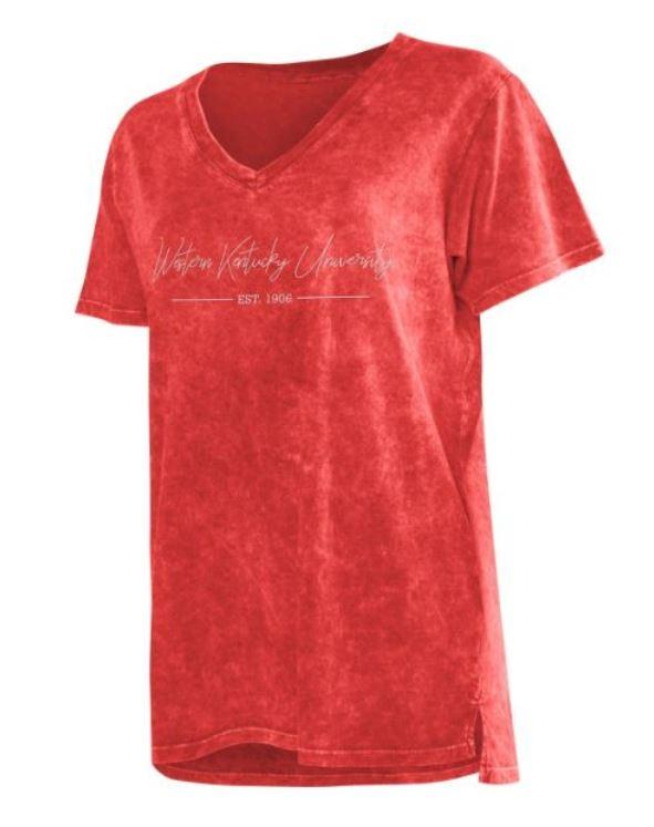 Western Kentucky Chicka- D Mineral Wash Script V- Neck Tee
