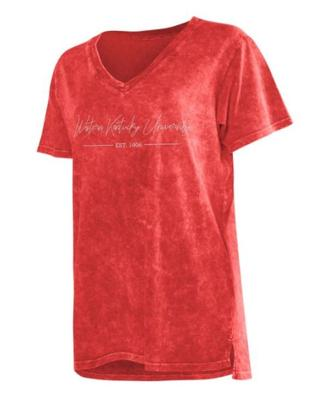 Western Kentucky Chicka-D Mineral Wash Script V-Neck Tee