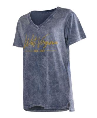 West Virginia Chicka-D Mineral Wash Script V-Neck Tee