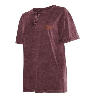 Virginia Tech Chicka-D Mineral Wash Short Sleeve Henley Top