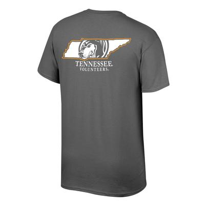 Tennessee Men's Smokey in State Tee Shirt GRAPHITE