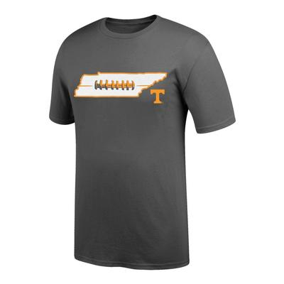 Tennessee Men's State with Laces Tee Shirt GRAPHITE