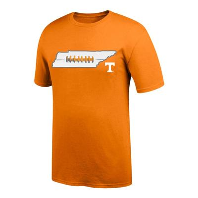 Tennessee Men's State with Laces Tee Shirt TN_ORG