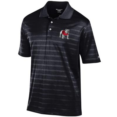 Georgia Men's Champion Stripe Polo w Logo