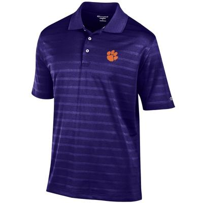 Clemson Men's Champion Stripe Polo w Logo