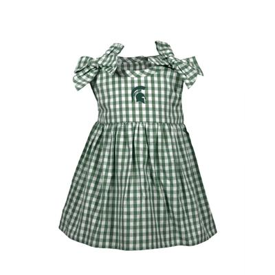 Michigan State Infant Cora Gingham Dress