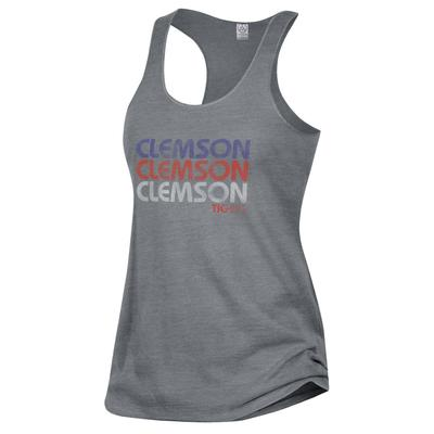 Clemson Alternative Apparel Stacked Wordmark Meegs Racerback Tank