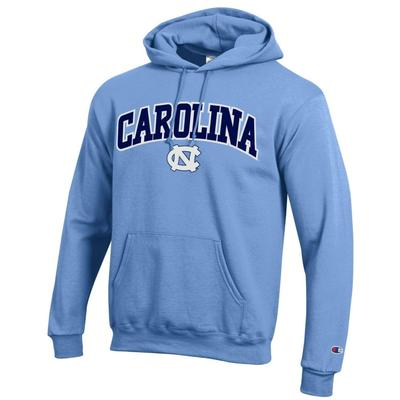 UNC Champion Arch Logo Applique Hooded Sweatshirt C.BLUE