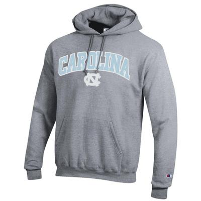UNC Champion Arch Logo Applique Hooded Sweatshirt HTHR_GREY