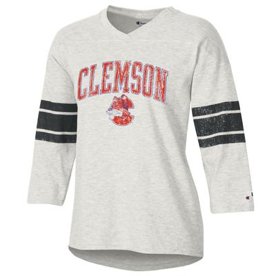 Clemson Women's Rochester Slub Football Tee Shirt