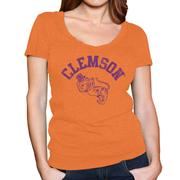 Clemson Retro Brand Megan V- Neck T- Shirt