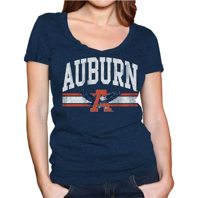 Auburn Retro Brand Megan V-Neck T-Shirt