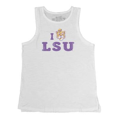 LSU I Love LSU Split Bottom Slub Tank Top