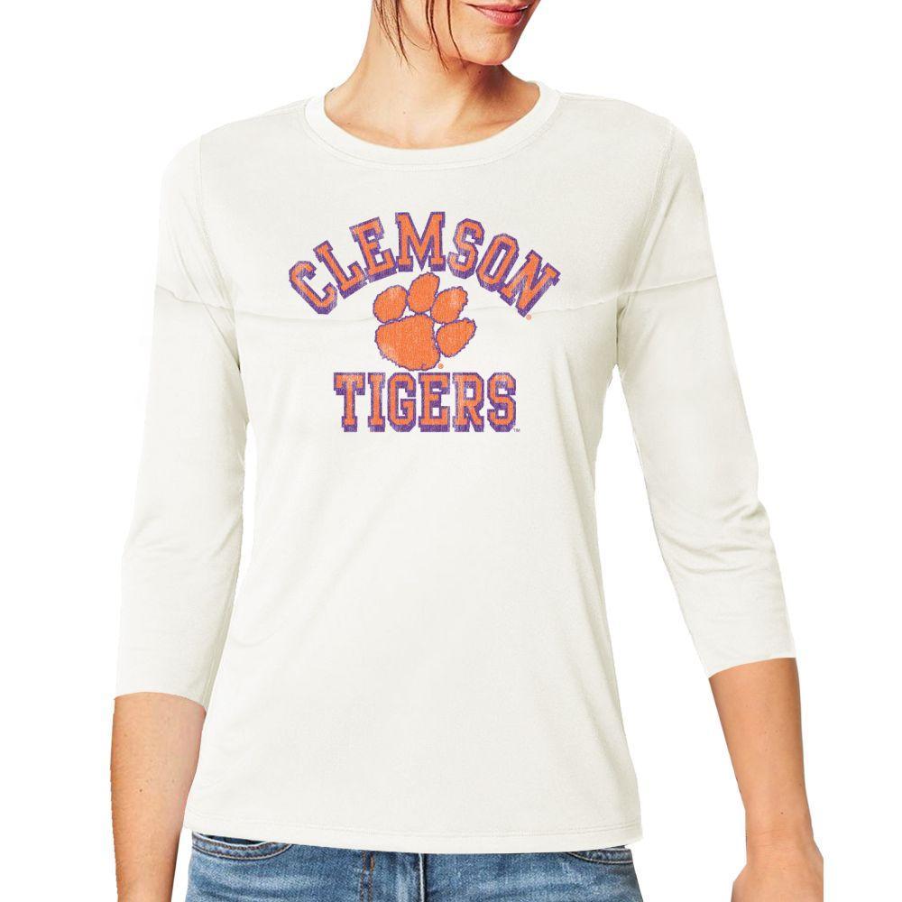 Clemson Retro Brand Women's 3/4 Sleeve Football Jersey Crop Top
