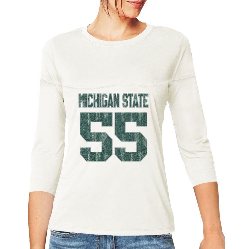 Michigan State Retro Brand Women's 3/4 Sleeve Football Jersey Crop Top