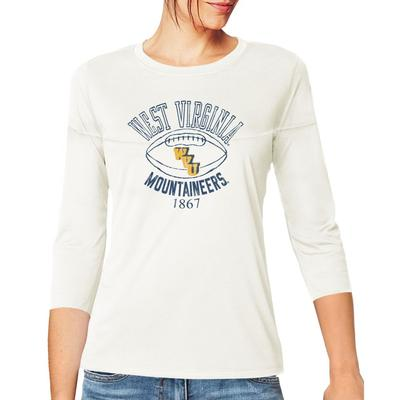 West Virginia Retro Brand Women's 3/4 Sleeve Football Jersey Crop Top