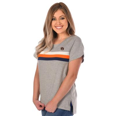 Auburn University Girl Grey Trim Tee