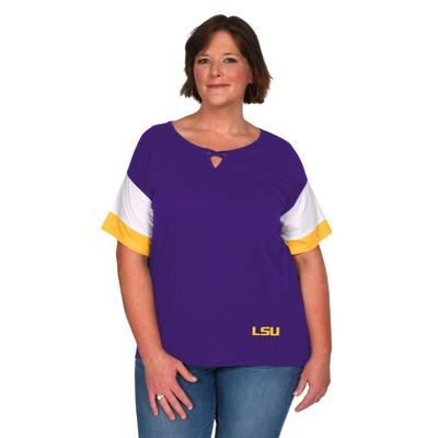 LSU University Girl Criss Cross Top Plus Sizes