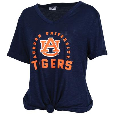 Auburn Dodge Knotted V-Neck Tee - Plus Sizes