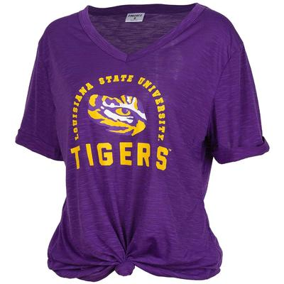 LSU Dodge Knotted V-Neck Tee - Plus Sizes